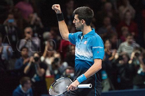 21.11.2015. The O2, London, England. ATP Tennis Tour Finals. Day 7. Novak Djokovic (SRB) [1] celebrates his win over Rafael Nadal (ESP) [5]. Djokovic won the match 6-3, 6-3.
