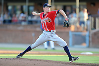 Rome Braves starting pitcher Wes Parsons #30 delivers a pitch during a game against the Asheville Tourists at McCormick Field on July 25, 2013 in Asheville, North Carolina. The Tourists won the game 9-6. (Tony Farlow/Four Seam Images)
