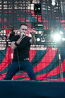 Tim McIlrath from the US singer of the band Rise Against performs on the stage at Sziget festival held in Budapest, Hungary on August 10, 2011. ATTILA VOLGYI