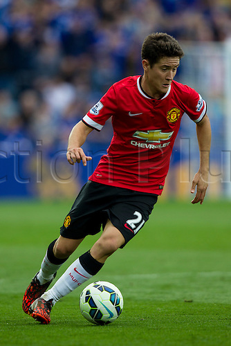 21.09.2014.  Leicester, England. Barclays Premier League. Leicester City versus Manchester United. Ander Herrera (Manchester United) on the ball.