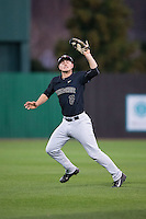 Wake Forest Demon Deacons shortstop Johnny Aiello (2) catches a fly ball in shallow left field against the Charlotte 49ers at Hayes Stadium on March 16, 2016 in Charlotte, North Carolina.  The 49ers defeated the Demon Deacons 7-6.  (Brian Westerholt/Four Seam Images)