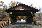 Overview at Grahamsville (Chestnut Creek) Covered Bridge (1976),  that carries a park access road over the Chestnut Creek, off NY 55 (Main Street) in Grahamsville, NY, on Thursday, October 23, 2014. Photo by Jim Peppler. Copyright Jim Peppler 2014.