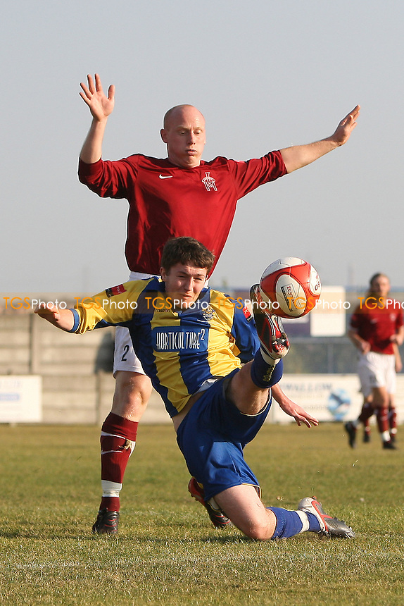 Joe Oates of Romford goes down under pressure from Mark Goldfinch but no penalty is awarded - Romford vs Leiston - Ryman League Division One North Football at Mill Field, Aveley FC - 21/10/11 - MANDATORY CREDIT: Gavin Ellis/TGSPHOTO - Self billing applies where appropriate - 0845 094 6026 - contact@tgsphoto.co.uk - NO UNPAID USE.