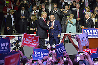 """8/24/16 Jackson,MS. Former New York City Mayor Rudy Giuliani, walks out with Republican Presidential candidate Donald J Trump at a rally in Jackson Mississippi. Trump spoke to a full house of mostly white supporters and called Hillary Clinton a """"bigot"""" during his speech. While in Jackson Trump also made time to squeezed in a very private $1,000 dollar  per person fundraiser. It was so private you did not get the address for the location until the campaign received your donation. Photo © Suzi Altman"""