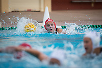 Stanford, CA - March 8, 2020: Lauren Bywater at Avery Aquatic Center. The No. 2 Stanford Women's Water Polo team beat the No. 6 Arizona State Sun Devils 9-8.