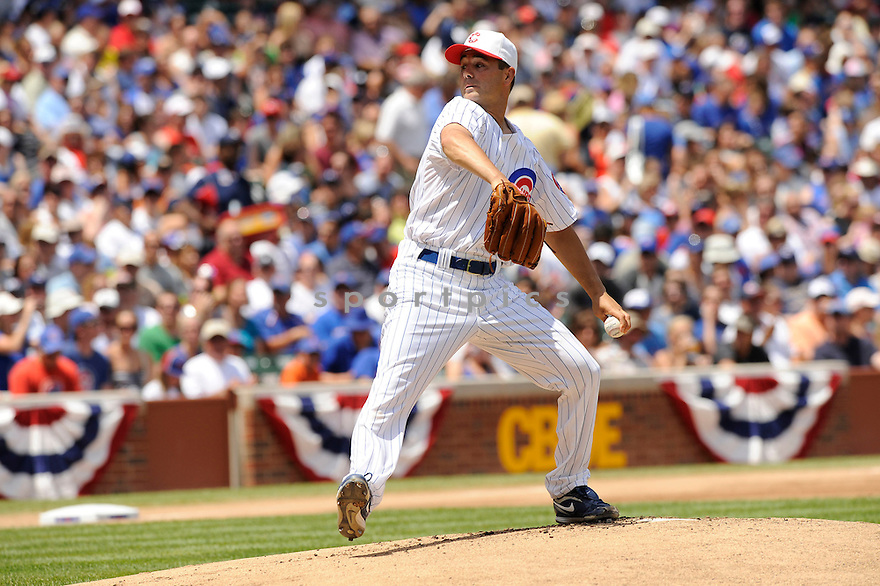 TED LILLY,  of the Chicago Cubs,  in action  during the Cubs  game against the Cincinnati Reds in Chicago, Illinois on July 4, 2010. The Cincinnati Reds beat the Chicago Cubs b14-3..
