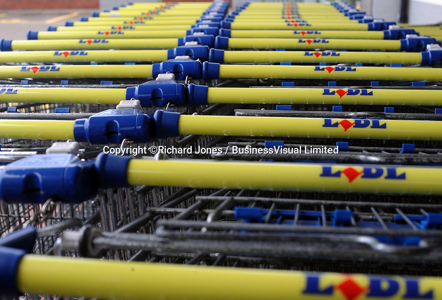 Lidl trolley's  in Cardiff, UK.  Lidl Stiftung & Co. KG is a German global discount supermarket chain that operates across the UK. 30-Sept-2013.