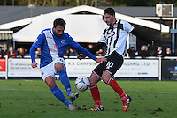 Conor Townsend of Grimsby Town is challenged by Andy Drury of Eastleigh during the Vanarama National League match between Eastleigh and Grimsby Town at The Silverlake Stadium, Eastleigh, Hampshire on Nov 21, 2015. (Photo: Paul Paxford/PRiME)