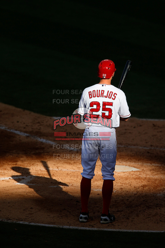 Peter Bourjos #25 of the Los Angeles Angels bats against the New York Yankees at Angel Stadium on June 15, 2013 in Anaheim, California. (Larry Goren/Four Seam Images)