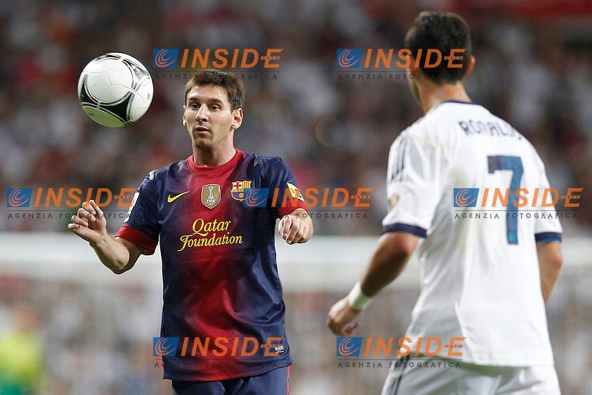 "Real Madrid's Cristiano Ronaldo and F.C. Barcelona's Lionel Messi during Spanish Supercup 2nd match on august 29 2012...Photo: Cesar Cebolla / ALFAQUI .Madrid 29/8/2012 Stadio ""Santiago Bernabeu"".Football Calcio 2012/2013 Supercoppa di Lica.Real Madrid Vs Barcellona.Foto Insidefoto / Alterphotos"