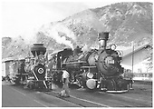 3/4 engineer's-side view of Eureka &amp; Palisade #4 and D&amp;SNG #480 side-by-side in Durango yard.<br /> D&amp;SMG, E&amp;P  Durango, CO