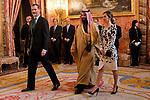 Queen Letizia of Spain and King Felipe VI of Spain before lunch in honor of Arabia Saudi heir prince, Mohámed bin Salmán at Royal Palace in Madrid, Spain. April 12, 2018. (ALTERPHOTOS/Borja B.Hojas)