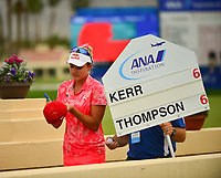 Lexi Thompson, of the United States, signs autographs fro the standard bearer during the third round of the ANA Inspiration at the Mission Hills Country Club in Palm Desert, California, USA. 3/31/18.<br /> <br /> Picture: Golffile | Bruce Sherwood<br /> <br /> <br /> All photo usage must carry mandatory copyright credit (&copy; Golffile | Bruce Sherwood)during the second round of the ANA Inspiration at the Mission Hills Country Club in Palm Desert, California, USA. 3/31/18.<br /> <br /> Picture: Golffile | Bruce Sherwood<br /> <br /> <br /> All photo usage must carry mandatory copyright credit (&copy; Golffile | Bruce Sherwood)