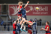 24th March 2018, AJ Bell Stadium, Salford, England; Aviva Premiership rugby, Sale Sharks versus Worcester Warriors; Andrei Ostrikov of Sale Sharks jumps for the ball in a line out