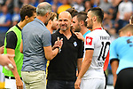 11.08.2019, Carl-Benz-Stadion, Mannheim, GER, DFB Pokal, 1. Runde, SV Waldhof Mannheim vs. Eintracht Frankfurt, <br /> <br /> DFL REGULATIONS PROHIBIT ANY USE OF PHOTOGRAPHS AS IMAGE SEQUENCES AND/OR QUASI-VIDEO.<br /> <br /> im Bild: Adi Hütter / Huetter / Hutter (Trainer Eintracht Frankfurt) mit Bernhard Trares (Trainer SV Waldhof Mannheim) und Filip Kostic (Eintracht Frankfurt #10)<br /> <br /> Foto © nordphoto / Fabisch
