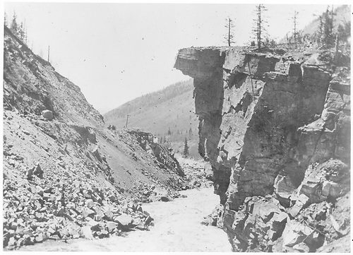 Lovers Leap in Burns Canyon.  The RGS track is up and to the left.<br /> RGS  Burns Canyon, CO  ca 1910