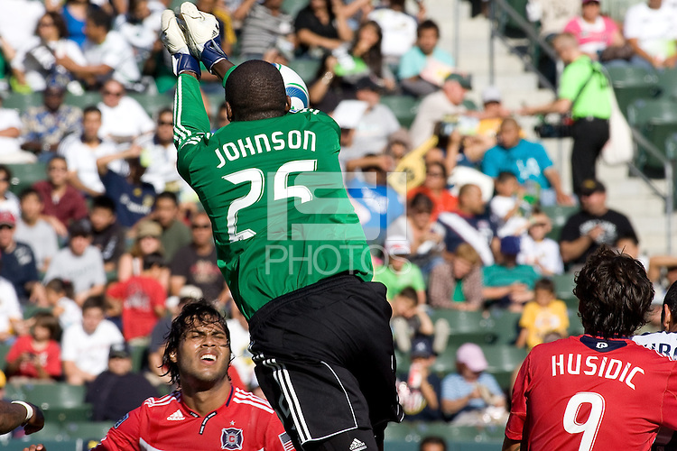 Chicago Fire goalkeeper Sean Johnson clears a ball from the box. The Chicago Fire beat the LA Galaxy 3-2 at Home Depot Center stadium in Carson, California on Sunday August 1, 2010.