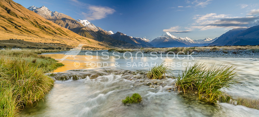 View to Aoraki / Mt Cook from the Tasman River, National Park, South Island, New Zealand - stock photo, canvas, fine art print