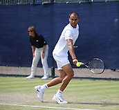 June 16th 2017, Nottingham, England; ATP Aegon Nottingham Open Tennis Tournament day 5;  Backhand form Marius Copil of Romania in his quarter final against Bjorn Fratangelo of USA
