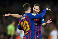 BARCELONA, 30-01-2019. Copa el Rey 2018/ 2019, round of 8 first leg. Barcelona-Sevilla. Lionel Messi of FC Barcelona celebrates his goal (6-1) with his teammate Jordi Alba during the game Barcelona 6-1 Sevilla <br /> Foto Pressinphoto/Proshots/Insidefoto