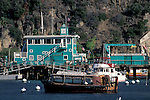 Green Pier and boats in Avalon Harbor, Catalina Island, California