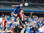 Billy Sharp of Sheffield Utd out jumped during the championship match at St Andrews Stadium, Birmingham. Picture date 21st April 2018. Picture credit should read: Simon Bellis/Sportimage
