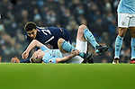 Dele Alli of Tottenham Hotspur challenge on Kevin De Bruyne of Manchester City during the premier league match at the Etihad Stadium, Manchester. Picture date 16th December 2017. Picture credit should read: Robin ParkerSportimage