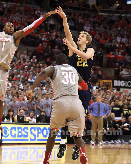 The University of Michigan men's basketball team lost, 64-49, to Ohio State in Columbus, Ohio, on January 29, 2012.