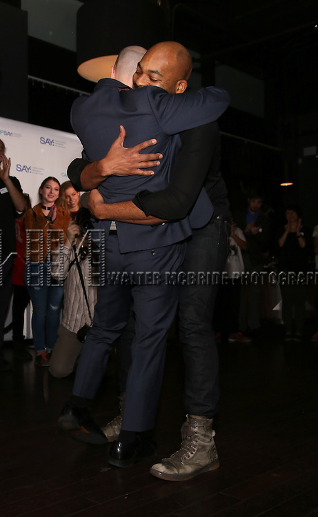 Taro Alexander and Brandon Victor Dixon attend the 5th Annual Paul Rudd All-Star Bowling Benefit for (SAY) at Lucky Strike Lanes on February 13, 2017 in New York City.