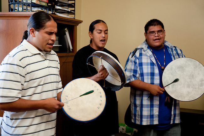 Three traditional drummers of the Klamath tribe play handdrums and sing handed down songs during ceremonies of the Klamath tribe.