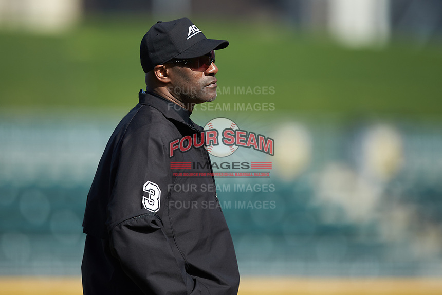 Third base umpire Linus Baker during the NCAA baseball game between the Furman Paladins and the Wake Forest Demon Deacons at BB&T BallPark on March 2, 2019 in Charlotte, North Carolina. The Demon Deacons defeated the Paladins 13-7. (Brian Westerholt/Four Seam Images)
