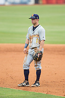 Montgomery Biscuits second baseman Brett Ryan (1) on defense against the Chattanooga Lookouts at AT&T Field on July 23, 2014 in Chattanooga, Tennessee.  The Lookouts defeated the Biscuits 6-5. (Brian Westerholt/Four Seam Images)