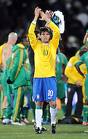 Kaka of Brazil applauds the supporters at full-time. Brazil defeated South Africa 1-0 during the semi-finals of the FIFA Confederations Cup at Ellis Park Stadium in Johannesburg, South Africa on June 25, 2009..