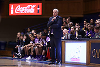DURHAM, NC - NOVEMBER 17: Head coach Joe McKeown of Northwestern University during a game between Northwestern University and Duke University at Cameron Indoor Stadium on November 17, 2019 in Durham, North Carolina.