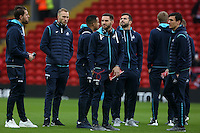 Àngel Rangel of Swansea City and the rest of the team  prior to kick off of the Premier League match between Liverpool and Swansea City at Anfield, Liverpool, Merseyside, England, UK. Saturday 21 January 2017