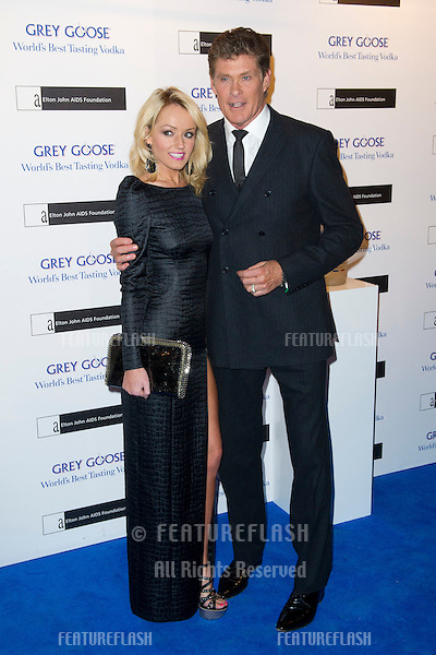 David Hasselhoff and Hayley Roberts arriving for the Grey Goose Ball 2012, Battersea Power Station, London. 10/11/2012 Picture by: Simon Burchell / Featureflash
