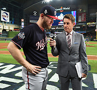 HOUSTON - OCTOBER 29: Tom Verducci speaks to Nationals pitcher Stephen Strasburg following World Series Game 6: Washington Nationals at Houston Astros on Fox Sports at Minute Maid Park on October 29, 2019 in Houston, Texas. (Photo by Frank Micelotta/Fox Sports/PictureGroup)