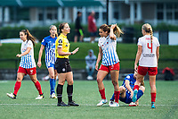 Boston, MA - Friday July 07, 2017: Referee Danielle Chesky gives a verbal warning to Sofia Huerta during a regular season National Women's Soccer League (NWSL) match between the Boston Breakers and the Chicago Red Stars at Jordan Field.