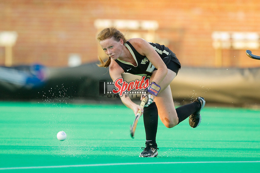 Kali Vicars (25) of the Wake Forest Demon Deacons passes the ball up the field during first half action against the Miami RedHawks at Kentner Stadium on August 30, 2013 in Winston-Salem, North Carolina.  The Demon Deacons defeated the RedHawks 3-2.  (Brian Westerholt/Sports On Film)