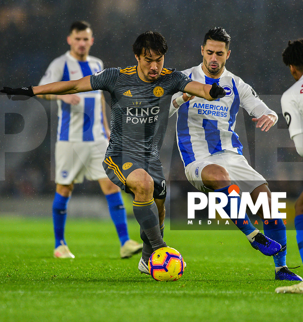 Shinji Okazaki of Leicester City (20) In action during the Premier League match between Brighton and Hove Albion and Leicester City at the American Express Community Stadium, Brighton and Hove, England on 24 November 2018. Photo by Edward Thomas / PRiME Media Images.