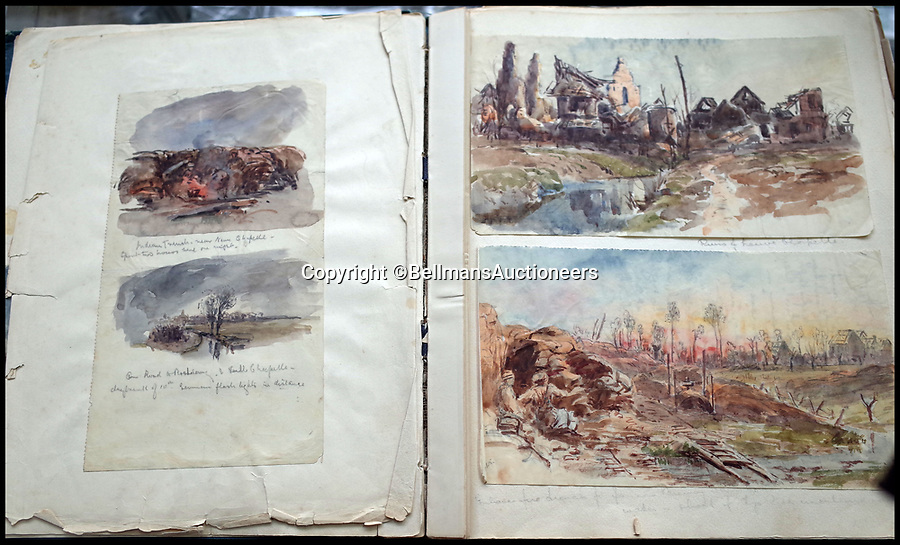 BNPS.co.uk (01202 558833)<br /> Pic: BellmansAuctioneers/BNPS<br /> <br /> A collection of wartime watercolours that offer a fascinating glimpse into one man's life in the trenches has emerged for sale a century later.<br /> <br /> Talented artist Finlay Mackinnon, who exhibited multiple times at the prestigious Royal Academy, answered the call to sign up in 1914 and spent almost all of the First World War fighting in France.<br /> <br /> But in his free time on the front he did what he loved best, capturing life in the trenches and also the beauty of their bleak surroundings in his pictures.<br /> <br /> Bellmans Auctioneers, who are selling the album of artwork, know little about the provenance of the album, which is expected to fetch £4,000 at auction.
