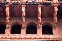 Agra, India.  Agra Fort, Jahangiri Mahal.  Islamic-Style Arches; Upper Level  Supported by Indian-Style Supports.