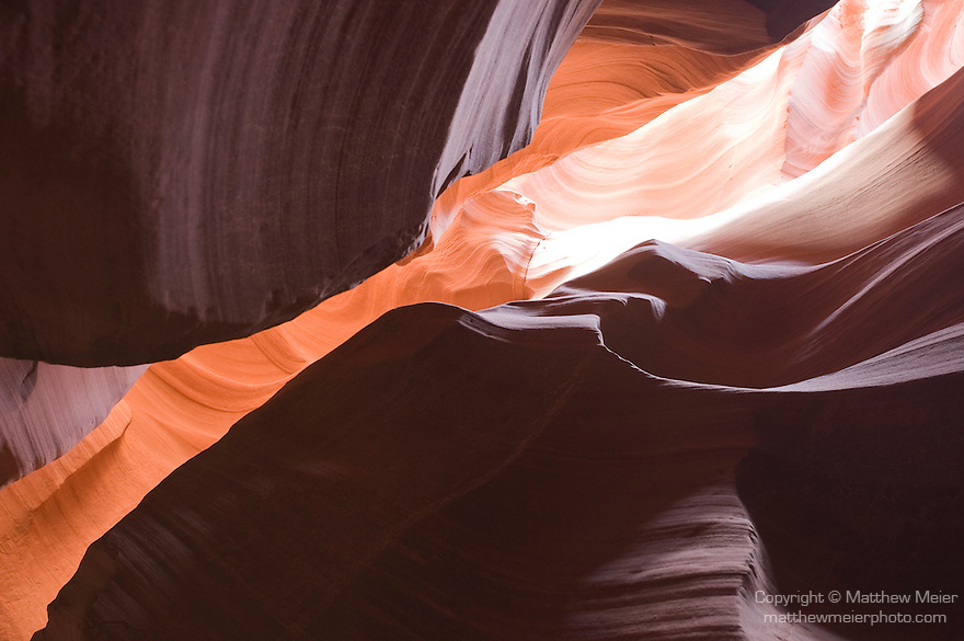 Upper Antelope Canyon, Page, Utah; red sandstone slot canyons photographed in winter, while the sun is lower in the sky, guided by Antelope Canyon Tours, Navajo owned and operated by Carolene Ekis, www.antelopecanyon.com