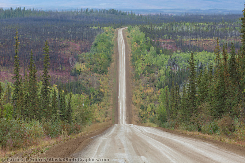Gravel surface of the James Dalton Highway, commonly called the Haul Road, Alaska.