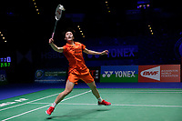 13th March 2020, Arena Birmingham, Birmingham, UK;  Chinas Chen Yufei returns a shot during the womens singles quarterfinal match with Thailand s Ratchanok Intanon at the All England Open Badminton Championships in Birmingham