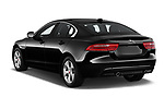 Car pictures of rear three quarter view of a 2018 Jaguar XE Prestige 4 Door Sedan angular rear