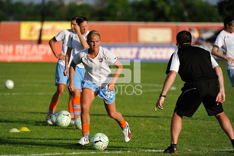 Alyssa Mautz (33) of Sky Blue FC during warmups. Sky Blue FC defeated the Atlanta Beat 3-0 during a Women's Professional Soccer (WPS) match at Yurcak Field in Piscataway, NJ, on May 21, 2011.