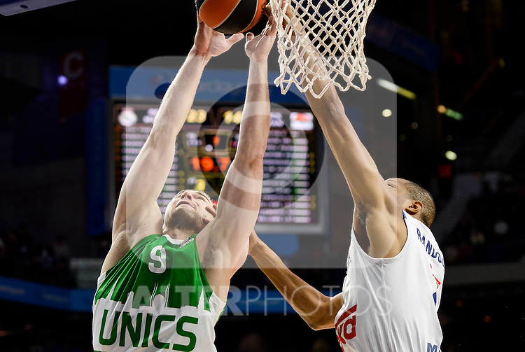 Real Madrid's player Anthony Randolph and Unics Kazan's player Artsiom Parakhouski during match of Turkish Airlines Euroleague at Barclaycard Center in Madrid. November 24, Spain. 2016. (ALTERPHOTOS/BorjaB.Hojas)