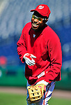 23 April 2010: Washington Nationals' outfielder Willie Harris warms up prior to a game against the Los Angeles Dodgers at Nationals Park in Washington, DC. The Nationals defeated the Dodgers 5-1 in the first game of their 3-game series. Mandatory Credit: Ed Wolfstein Photo