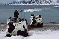 - landing of US Marines with amphibious armored vehicles LVTP during NATO exercises in Norway....- sbarco di US Marines con veicoli corazzati anfibi LVTP durante esercitazioni NATO in Norvegia